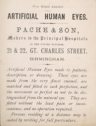 Advert for Pache & Sons, artifical eye manufacturers